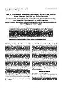 Role of a Burkholderia pseudomallei Polyphosphate ... - Springer Link