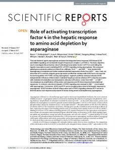 Role of activating transcription factor 4 in the hepatic ...
