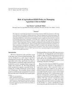 Role of Agricultural R&D Policy in Managing ... - AgEcon Search