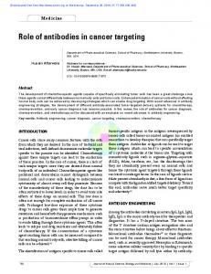 Role of antibodies in cancer targeting