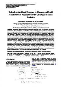 Role of Antioxidant Enzymes in Glucose and Lipid ... - Semantic Scholar