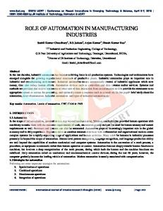 role of automation in manufacturing industries - ijcrt