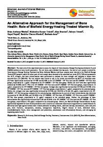 Role of Biofield Energy Healing Treated Vitamin D3 - Science ...