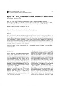 Role of Ca in the metabolism of phenolic ... - Semantic Scholar
