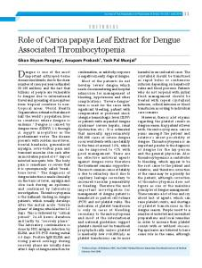 Role of Carica papaya Leaf Extract for Dengue Associated ... - JAPI