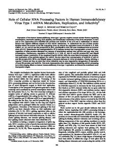 Role of Cellular RNA Processing Factors in ... - Journal of Virology