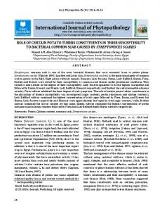 role of certain potato tubers constituents in their susceptibility to ...