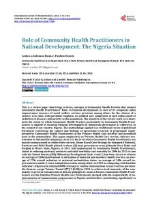 Role of Community Health Practitioners in National Development: The ...