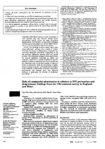 Role of community pharmacies in relation to HIV ... - Europe PMC
