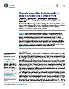 Role of competition between polarity sites in ... - Semantic Scholar