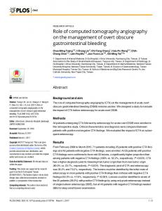 Role of computed tomography angiography on the management of ...