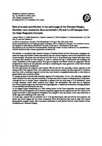 Role of crustal contribution in the early stage of the Damara Orogen ...