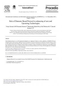 Role of Diameter Based Protocol in enhancing of new ... - ScienceDirect