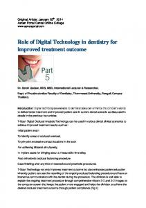 Role of Digital Technology in dentistry for improved