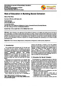 Role of Education in Building Social Cohesion - Eric