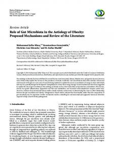 Role of Gut Microbiota in the Aetiology of Obesity: Proposed ...