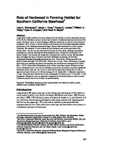 Role of Hardwood in Forming Habitat for Southern California Steelhead