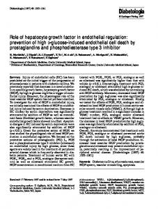 Role of hepatocyte growth factor in endothelial ... - Semantic Scholar