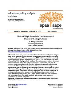 Role of High Schools in Undocumented Students' College Choice.