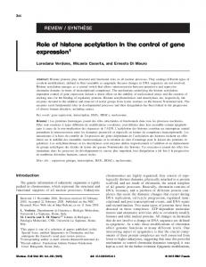Role of histone acetylation in the control of gene expression1