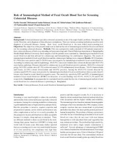 Role of Immunological Method of Fecal Occult Blood ...