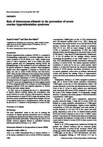 Role of intravenous albumin in the prevention of severe ovarian ...