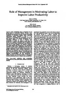 Role of Management in Motivating Labor to Improve Labor Productivity
