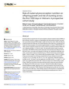 Role of maternal preconception nutrition on offspring growth ... - PLOS