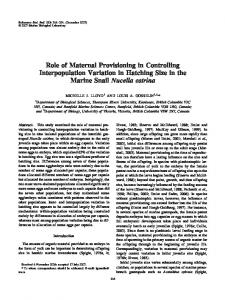 Role of Maternal Provisioning in Controlling Interpopulation Variation ...