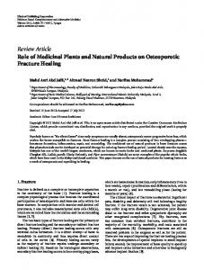 Role of Medicinal Plants and Natural Products on Osteoporotic