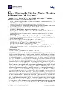 Role of Mitochondrial DNA Copy Number ... - Semantic Scholar
