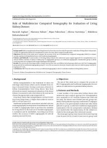 Role of Multidetector Computed Tomography for Evaluation of Living ...