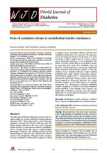 Role of oxidative stress in endothelial insulin resistance