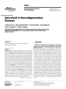 Role of p53 in Neurodegenerative Diseases