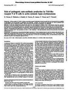 Role of pathogenic auto-antibody production by Toll ...