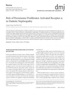 Role of Peroxisome Proliferator-Activated