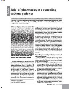 Role of pharmacist in counseling asthma patients