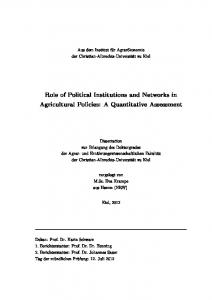 Role of Political Institutions and Networks in