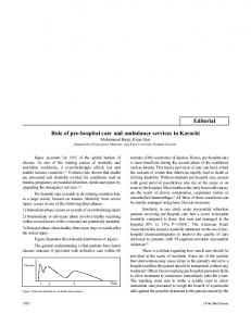 Role of pre-hospital care and ambulance services ... - Semantic Scholar