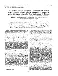 Role of Pseudomonas aeruginosa Outer Membrane Protein OprH in ...