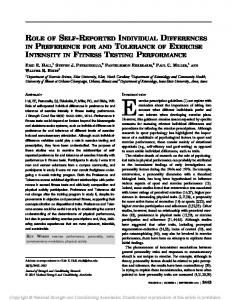 role of self-reported individual differences in preference for and ...