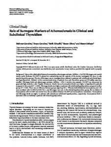 Role of Surrogate Markers of Atherosclerosis in Clinical and ...