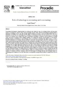 Role of Technology in Accounting and E-accounting