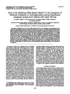 Role of the Multidrug Efffux System MexXY in the Emergence of ...