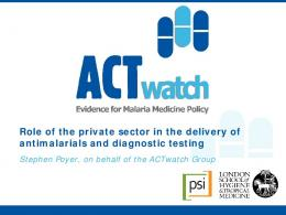 Role of the private sector in the delivery of ...
