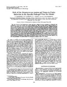 Role of the Streptococcus mutans gtf Genes in Caries Induction in the ...