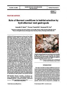 Role of thermal conditions in habitat selection by hydrothermal vent ...