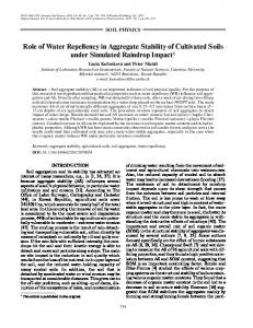 Role of Water Repellency in Aggregate Stability of ... - Springer Link