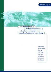 role trainers changing role vocational The changing ...