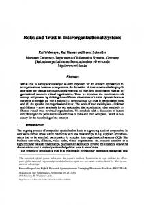 Roles and Trust in Interorganizational Systems - CiteSeerX